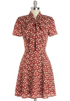 Think Out Laud Dress in Apples - Woven, Mid-length, Red, Grey, White, Novelty Print, Tie Neck, Work, A-line, Short Sleeves, Better, Fruits, ...