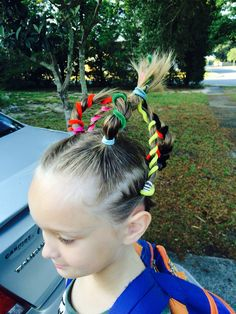 Wacky Hair  7 ponytails, wrap pipe cleaners around, join in the middle with another hair band, bend out pipe cleaners.