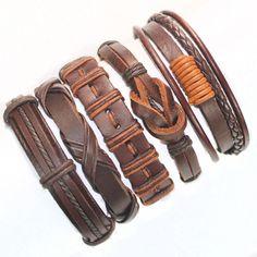 5Pcs Brown Wrap Real Leather Bracelet Men 2017 Friendship Bracelets Bangles For