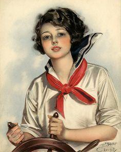 Vintage Earl Christy Art Deco Flapper Sailor Pin Up Print Skippers Mate Vintage Images, Vintage Art, Vintage Prints, Image Halloween, Estilo Pin Up, Image Nature, Rolf Armstrong, Calendar Girls, 1920s Art Deco