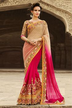 Buy Half N Half Georgette Saree In Beige And Pink Colour for women @ ninecolours.com. Worldwide Free Shipping Available!