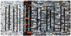 """""""Ruins 6"""" by Leah Higgins, Eccles, Great Britain.  Winner of the Art Quilts category.  2016 Festival of Quilts (UK)"""