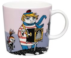 """This new violet Moomin mug by Arabia features Too-ticky. It's beautifully illustrated by Arabia artist Tove Slotte and the illustrations can be seen in the original book """"Moominland Midwinter"""" by Tove Jansson. Moomin Books, Moomin Mugs, Branded Mugs, Tove Jansson, Porcelain Mugs, Mug Designs, Scandinavian Design, Marimekko, Pottery"""
