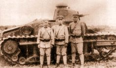 Japanese soldiers and their tank