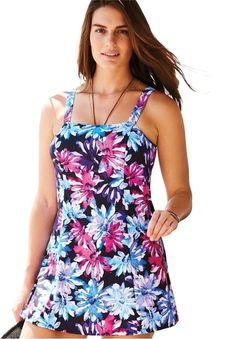 d6e9053acaf Swim 365 Women s Plus Size Princess-Seam Swimdress with Brief - Black  Multi