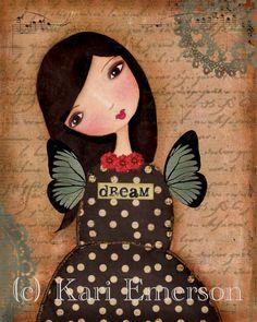 Dream Girl Mixed Media Art Print $20.00