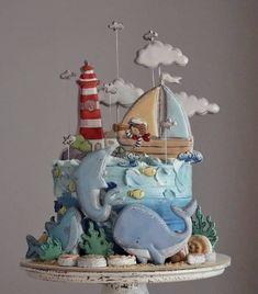 Creative Cake Decorating, Cake Decorating Techniques, Cookie Decorating, Marine Cake, Nemo Cake, Baby First Birthday Cake, Carousel Cake, Nautical Cake, Sea Cakes