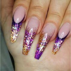 Purple Nail Designs, Fall Nail Art Designs, Diy Nail Designs, Acrylic Nail Designs, Plaid Nails, Swag Nails, Fabulous Nails, Gorgeous Nails, Get Nails