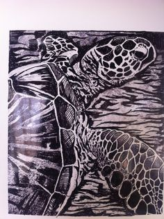 Drawing for a Sea Turtle Lino Print Art And Illustration, Illustrations, Sea Turtle Art, Sea Turtles, Linocut Prints, Art Prints, Up Book, Print Artist, Art Images
