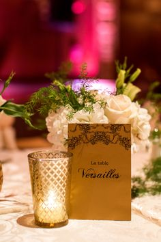 Parisian themed wedding ideas: Versailles table number (Photo by Kevin Le Vu Photography)
