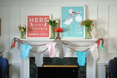 chic baby shower decorations for a mantel