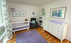 Purple, Aqua, and White Girl Nursery - love the fresh, clean feel of this room!