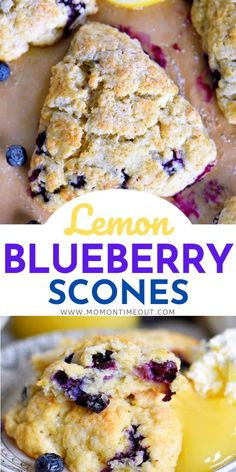 This Lemon Blueberry Scones recipe is a delightful addition to any breakfast or brunch! Fresh blueberries and loads of lemon zest add an irresistible freshness to these easy to make scones. Serve with lemon curd and cream for an afternoon tea experience everyone will love! // Mom On Timeout #sconesrecipe #sconerecipe #blueberryscones #brunch #breakfast #tea #blueberries #blueberry #lemon #scones #scone #recipe #recipes