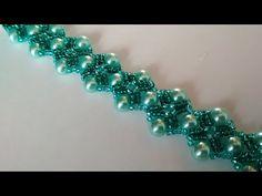 (5) Green bracelet. DIY. Красивый браслет из бисера и бусин. МК - YouTube