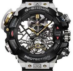 Mix & Match by Watch Brotherss. G-shock + Hublot Tourbillon skeleton style dial. Casio G Shock Watches, Hublot Watches, Big Watches, Sport Watches, Casio Watch, Cool Watches, Wrist Watches, Casio Vintage, Skeleton Watches
