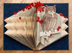 Rachael Ashe Created A Lovely Altered Books Art. Folded Book Art, Book Folding, Book Crafts, Paper Crafts, Dyi Crafts, Kirigami, Owl Books, Owl Canvas, Altered Book Art