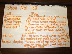 "Having a chart similar to this and reminding students of this concept often is so important as they write, by using dialogue instead of ""saying"" what was said. Doing a ""showing not telling"" minilesson multiple times throughout the year is also a must!"