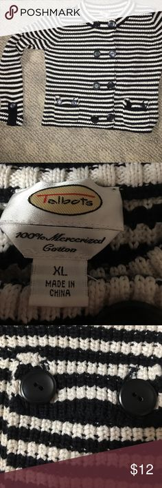 Talbots sweater Black and white striped cotton Talbots sweater Talbots Sweaters Crew & Scoop Necks