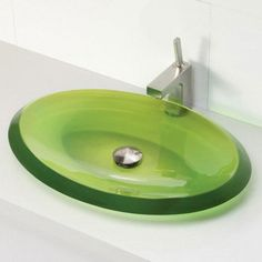 Incandescence 2803 Series Shallow Oval Resin Vessel Sink - Absinthe Green