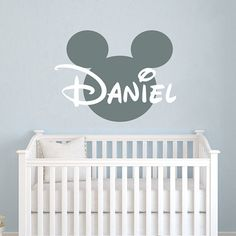 Name Wall Decal Mickey Mouse Head Ears Vinyl Decals Sticker Custom Personalized Baby Decor
