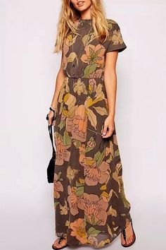 Floral Stand Neck Short Sleeves Maxi Dress