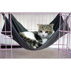 Schwarz Reversible Katze Hängematte Bett Tier Hängende Käfig Kuschel Größe L