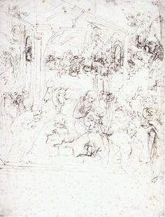 Leonardo Da Vinci-Design for the Adoration of the Magi