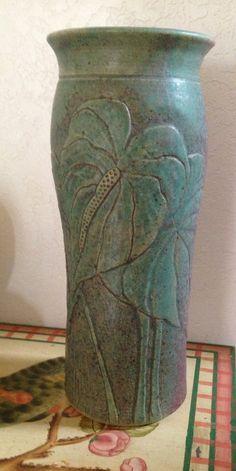 Anthurium pottery vase-unsigned