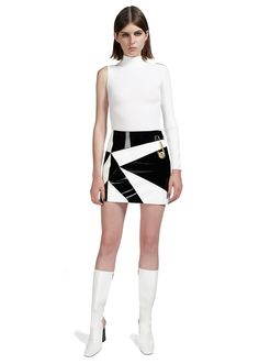 J.W. Anderson Patent Leather Patch Skirt. #JWAXVersus #VersusVersace