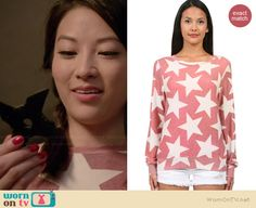 Kira's pink star sweatshirt on Teen Wolf.  Outfit Details: http://wornontv.net/36796/ #TeenWolf