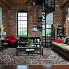 Spiral staircase. Brick wall. Loft. When can I move in?