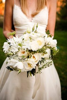 Wedding Bouquet: Queen Anne's Lace, Ranunculus, Garden Roses, Scabiosa, and Lisianthus