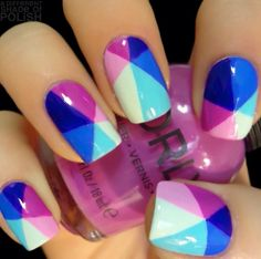 'Colorful triangular design Nail-Art' by Amy of 'A Different Shade Polish' from her blog on tumblr(2014)<3<3<3