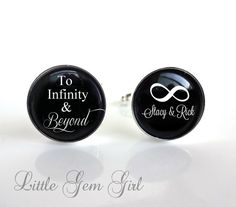 To Infinity and Beyond Custom Name Cufflinks. Gift to the groom