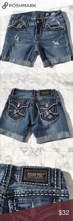 """Miss Me Denim Cut Off Shorts Miss Me Denim Cut Off Shorts   pre-owned, excellent condition  front rise: 7"""", higher in back Miss Me Shorts Jean Shorts"""