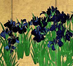 Detail. Right screen of the Japanese National Treasure 'Irises' (18th century) by 尾形光琳 Ogata Korin - Nezu Museum. Japan. Edo period. Rinpa icon.
