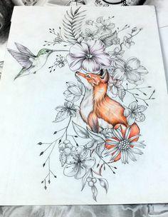fox / bird / flowers / natural / color / leaf / fox tattoo / bird tattoo / nature tattoo / natural tattoo / color tattoo / leaf tattoo / custom tattoo design / tattoo design / tattoo / black and grey . Henna Tattoos, Cute Tattoos, Beautiful Tattoos, Flower Tattoos, Arm Tattoo, Body Art Tattoos, Sleeve Tattoos, Nature Tattoo Sleeve, Fox Tattoos