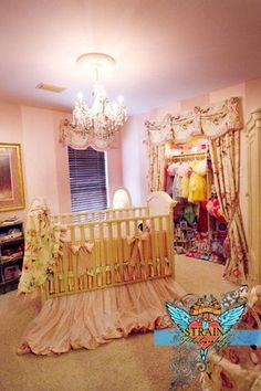 "Ballet Nursery with closet doors ripped off and replaced by ""stage curtains""  made a small room look much larger!"