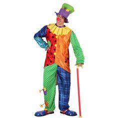 Gekleurd clowns kostuum voor mannen. 3-delig clownspak voor mannen dat bestaat uit de broek, het shirt en de hoed. Materiaal: 100% polyester.