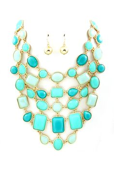 Turquoise & Mint Sienna Statement Bib Necklace & Earrings