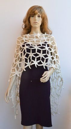 Crocheted poncho made to order, crochet handmade Weddings Accessories cover up… Crochet Wrap Pattern, Diy Crochet And Knitting, Crochet Cape, Crochet Poncho Patterns, Crochet Shawls And Wraps, Freeform Crochet, Wedding Shrug, Lace Shrug, Capes For Women