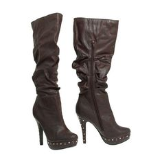 15DOLLARSTORE.COM - FAHRENHEIT Studded Platform & Heel Boots (Brown) ($15) ❤ liked on Polyvore featuring shoes, boots, sapatos, zapatos, studded shoes, fahrenheit boots, brown shoes, platform shoes and brown platform shoes
