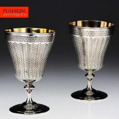 ANTIQUE 20thC OTTOMAN EMPIRE SOLID SILVER PAIR OF GOBLETS, TURKISH TUGHRA c.1900