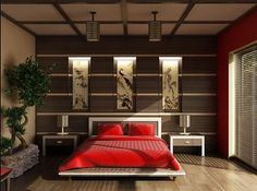 Asian insired bed room.