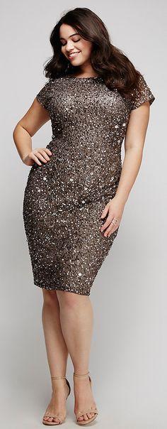Plus Size Purple Silver Fading Sequin Long Sleeve Sequin Dress ...