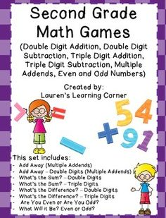In need of math activities that can be used for a variety of purposes?  Well this collection of games can be used for math centers, as partner work, for individual practice, as reinforcement or as extension activities.  They are designed for second grade but would also work well for advanced first graders or for third grade students who are struggling or not meeting current expectations.