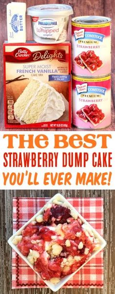 (The Frugal Girls) Strawberry Cheesecake Dump Cake Recipe! (The Frugal Girls),FOOD Strawberry Dump Cake Recipes! This simple dessert with cheesecake filling is so easy to make and SO delicious! Dessert Simple, Simple Party Food, Köstliche Desserts, Delicious Desserts, Yummy Food, Alcoholic Desserts, Dessert Halloween, Dump Meals, Dump Cake Recipes