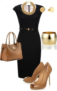 Black and nude. Ultimate power look. This classic black dress is great for any presentation or day in the office. This look is professional and sophisticated. Accessorized with simple gold jewelry and nude shoes  bag, youll be unstoppable!