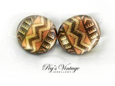 Large Round Wooden Boho//Gold And Brown by PegsVintageJewellery