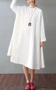 Casual Cotton Linen Dresses Long Sleeve Shirt Dress Women Clothes Baggy Dresses, Casual Dresses For Women, Clothes For Women, Maxi Dresses, Cotton Linen, White Cotton, White Linen Dresses, Autumn Clothes, Oversized Dress